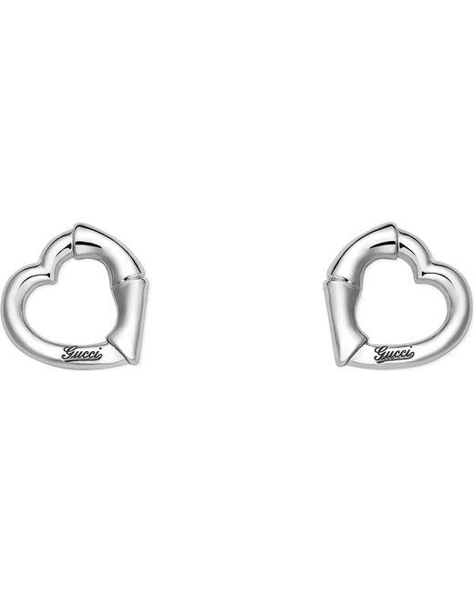 Gucci Metallic Sterling Silver Bamboo Earrings Lyst
