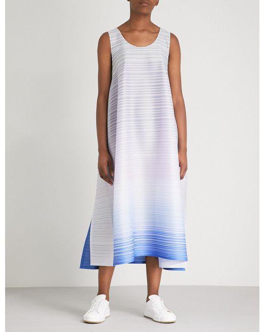 Pleats Please Issey Miyake - Blue Flags Pleated Midi Dress - Lyst