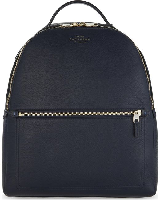 Smythson - Black Burlington Small Grained Leather Backpack - Lyst