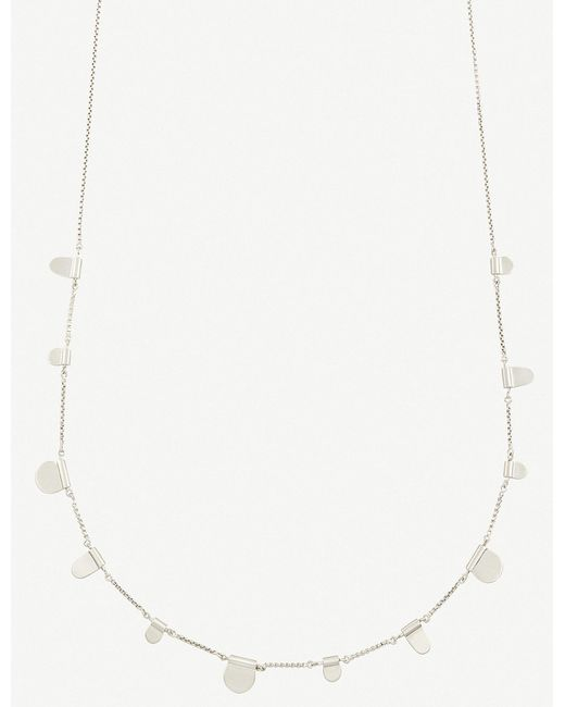 Kendra Scott - Metallic Olive Tabs Silver-toned Necklace - Lyst