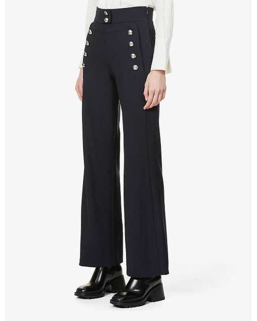 Chloé Blue Button-embellished Wide-leg High-rise Stretch-wool Trousers