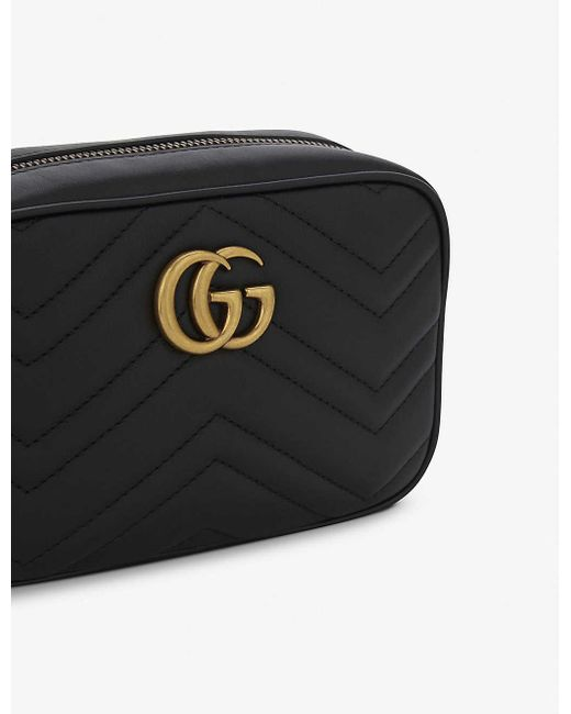 Gucci Black GG Marmont Mini Quilted Leather Cross-Body Bag