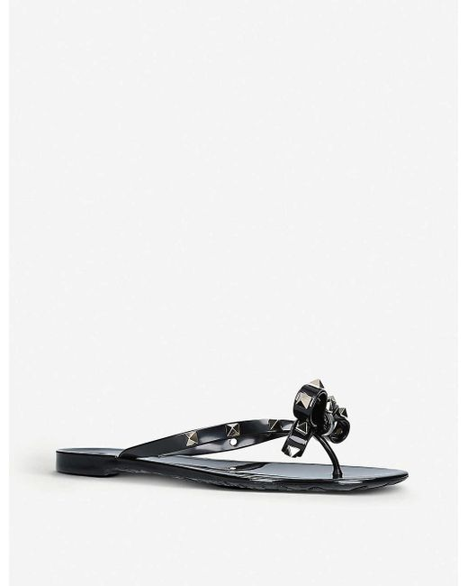 Valentino Orange Rockstud Thong Sandals