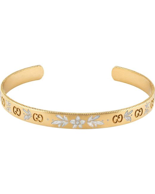 Gucci | Black Icon Blossom 18ct Yellow Gold Bracelet | Lyst