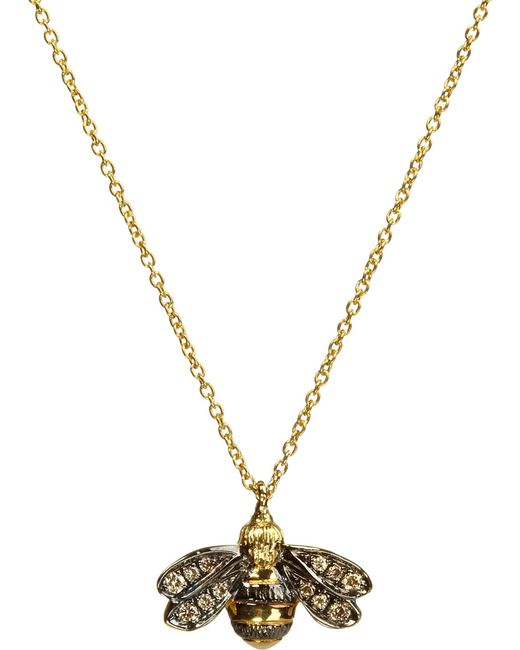 Annoushka - Black Love Diamonds 18ct Yellow-gold Bee Pendant Necklace - Lyst