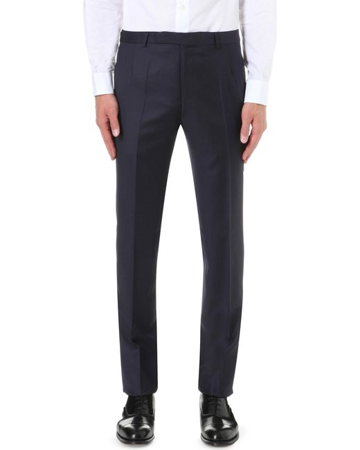 Gieves & Hawkes - Blue Regular-fit Straight Wool Trousers for Men - Lyst
