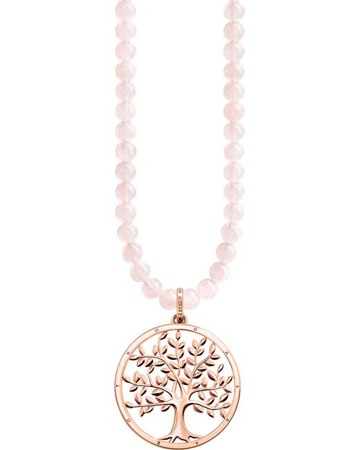 Thomas Sabo - Metallic Tree Of Love Sterling Silver And Rose Quartz Necklace - Lyst