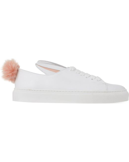 Minna Parikka - Pink White Leather Bunny Ears & Faux Fur Tail Sneakers - White - Lyst