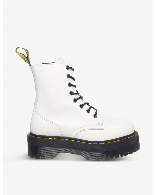 Dr. Martens White Jadon 8-eye Leather Platform Boots