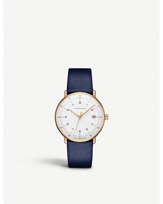 Junghans - Blue 047785100 Max Bill Stainless Steel And Leather Watch for Men - Lyst