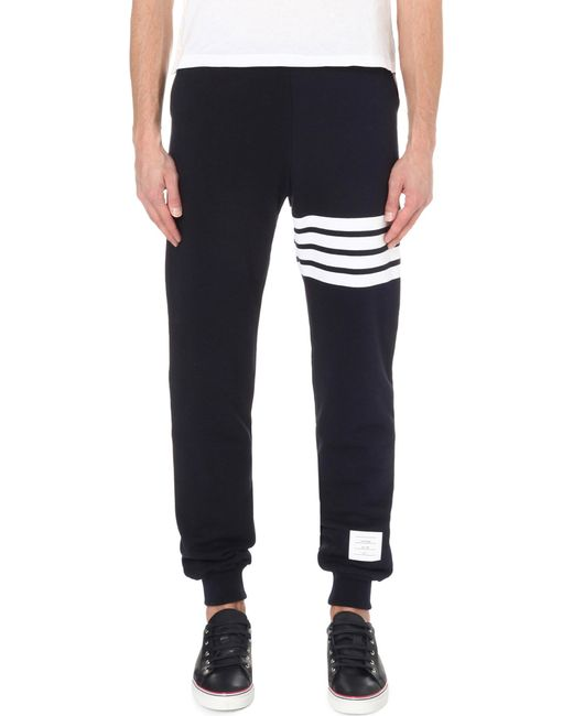 Thom Browne | Blue Striped Cotton-jersey Jogging Bottoms for Men | Lyst
