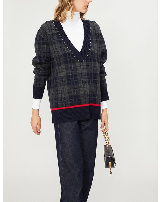 193fbe079c Lyst - Sandro Diamanté-embellished Checked Jumper in Blue - Save 40%
