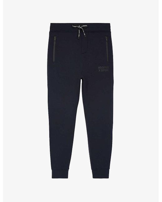 The Kooples Sport Blue Logo-print Tapered Mid-riseknitted jogging Bottoms for men