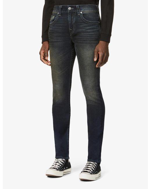 True Religion Blue Rocco Mid-rise Stretch-denim Jeans for men