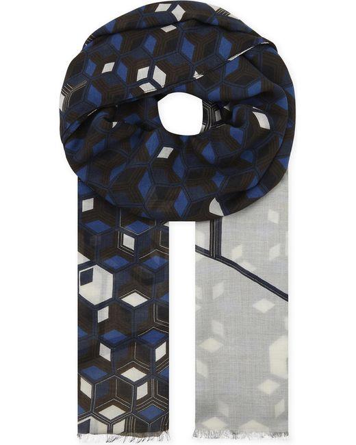 Eton of Sweden Blue Geometric Modal And Wool-blend Scarf for men