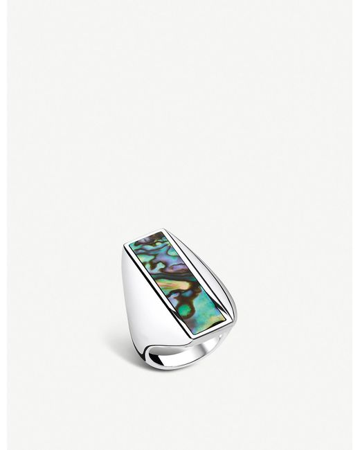 Thomas Sabo Metallic Heritage Sterling Silver And Abalone Mother-of-pearl Ring
