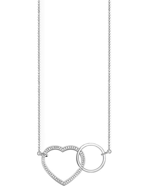 Thomas Sabo Metallic Together Heart Large Sterling Silver And Crystal Necklace