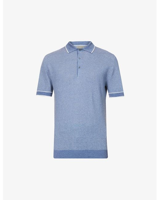 Corneliani Blue Geometric Relaxed-fit Silk And Linen-blend Polo Shirt for men
