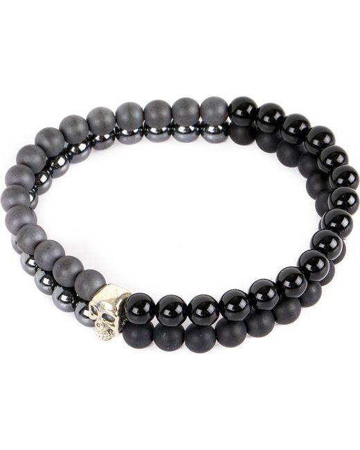 Nialaya - Black Skull Beaded Silver And Onyx Bracelet for Men - Lyst