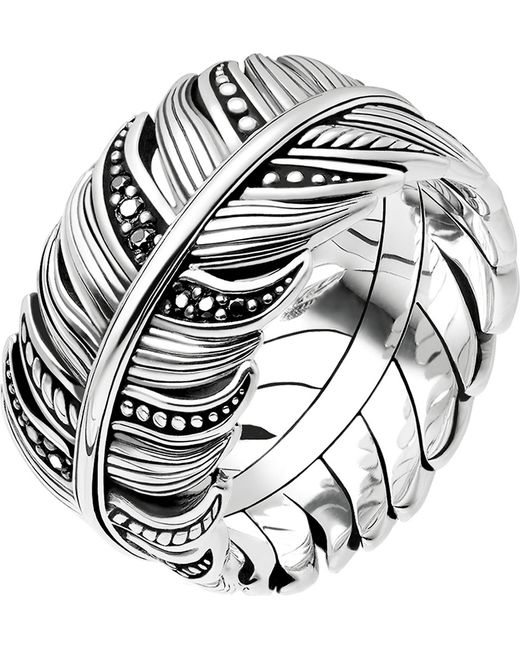Thomas Sabo Metallic Rebel At Heart Feather Sterling Silver Ring