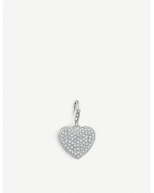 Thomas Sabo - Metallic Charm Club Sparkly Sterling Silver Heart Charm - Lyst