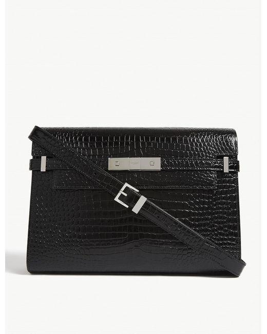 Saint Laurent Manhattan Croc Embossed Leather Baguette Bag