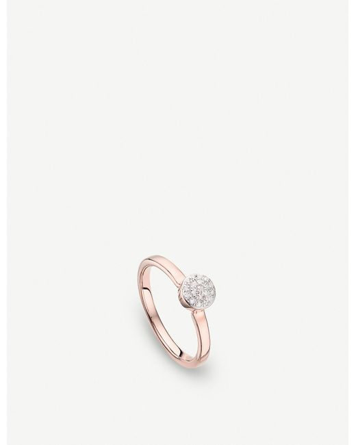 Monica Vinader - Metallic Fiji Mini Button 18ct Rose-gold Vermeil And Diamond Stacking Ring - Lyst