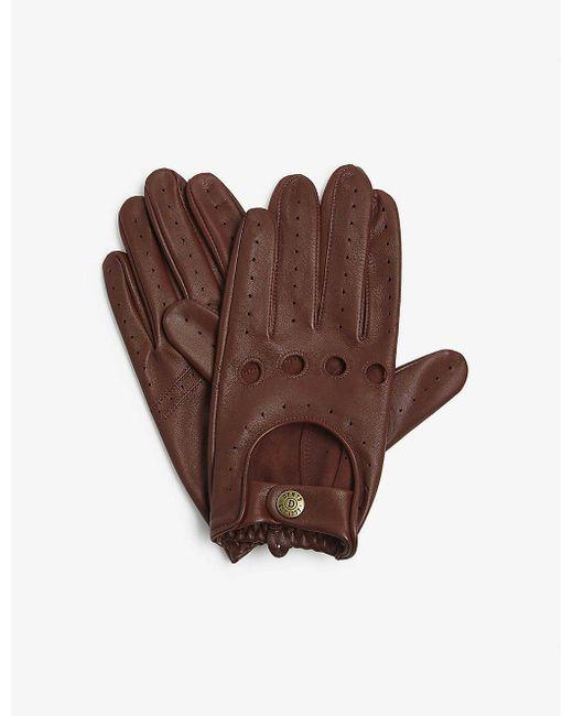Dents Black Leather Driving Gloves for men