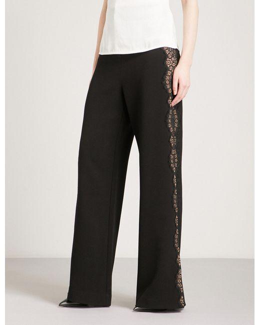 Self-Portrait - Black Wide-leg Crepe Trousers - Lyst