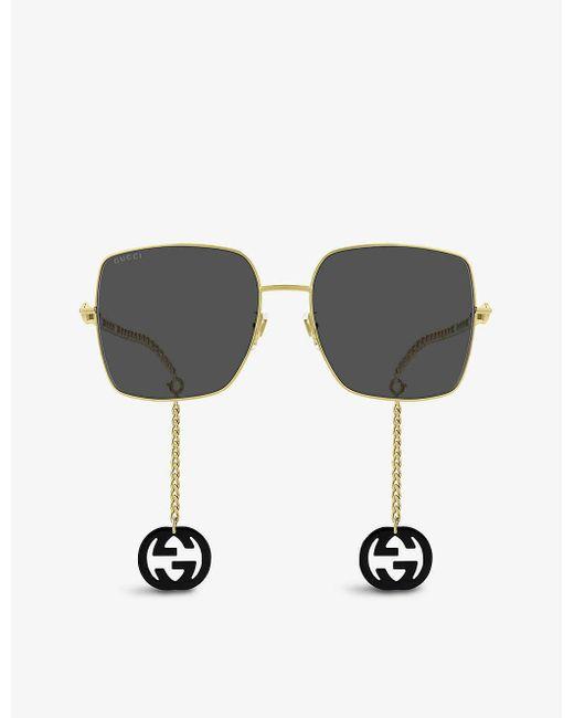 Gucci Metallic GG0724S Metal Rectangle-shape Sunglasses