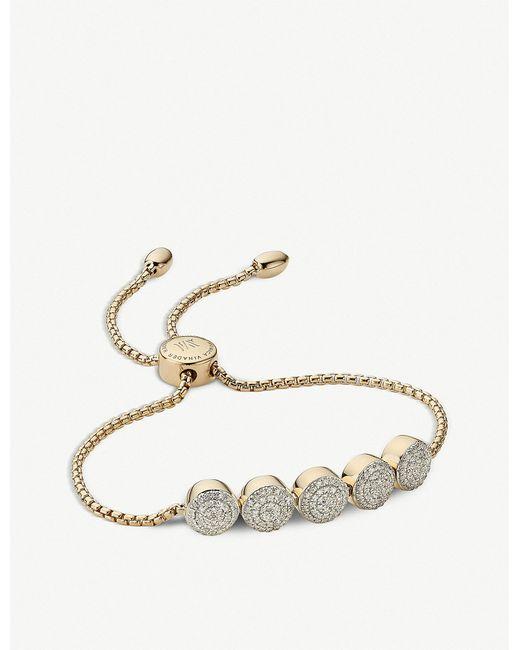 Monica Vinader - Metallic Fiji Button 18ct Gold Vermeil And Diamond Friendship Chain Bracelet - Lyst