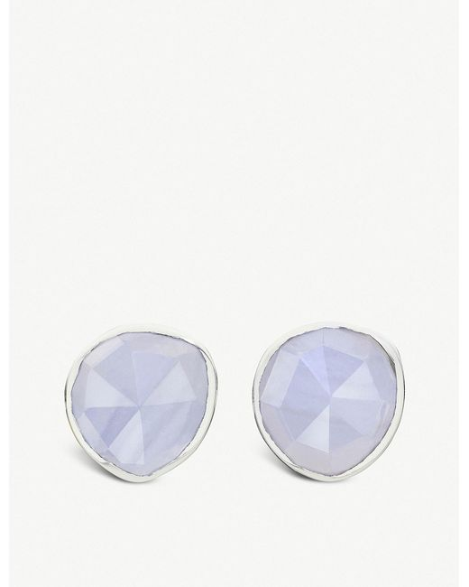 Monica Vinader - Siren Sterling Silver And Blue Lace Agate Stud Earrings - Lyst