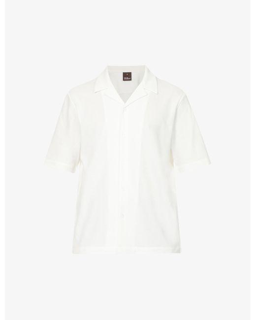 Oscar Jacobson White Cid Short-sleeve Cotton Shirt for men
