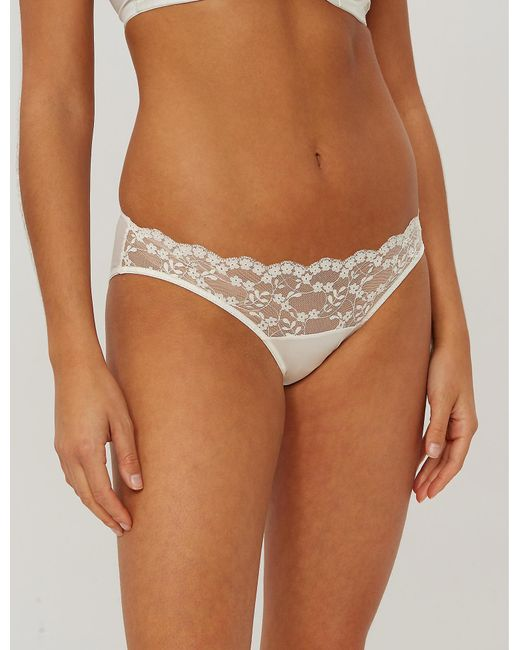 Katherine Hamilton - White Sophia Lace And Mesh Briefs - Lyst