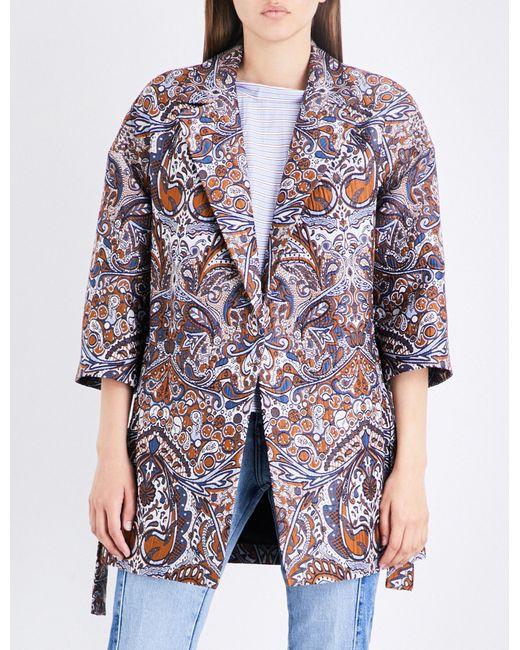 Maje | Blue Gimane Jacquard Coat | Lyst