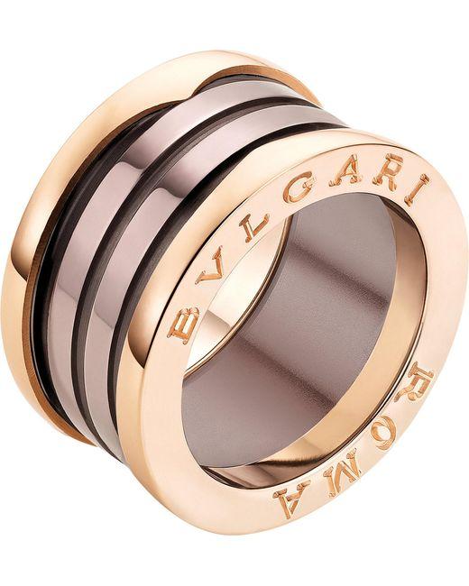 BVLGARI - Metallic B.zero1 Roma Four-band 18ct Pink-gold And Bronze Ceramic Ring - Lyst