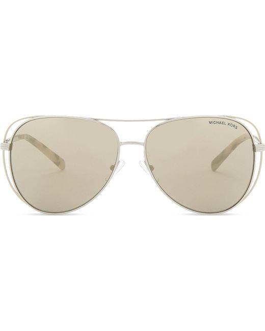 91a4df8ab11f Lyst - Michael Kors Lai Pilot Aviator Sunglasses in Metallic