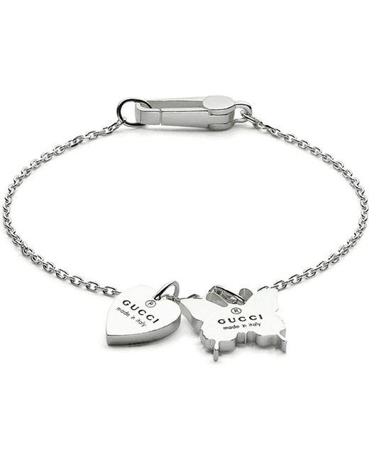 Gucci - Metallic Heart & Butterfly Charm Bracelet - Lyst