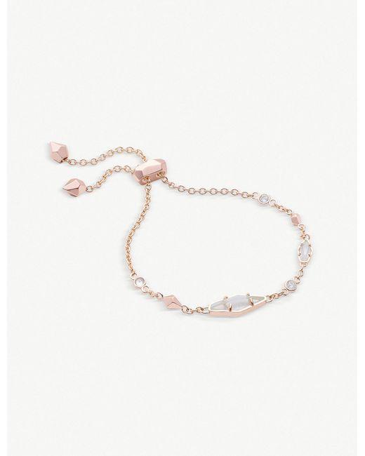 Kendra Scott - Metallic Deb 14ct Rose Gold-plated And Cubic Zirconia Chain Bracelet - Lyst
