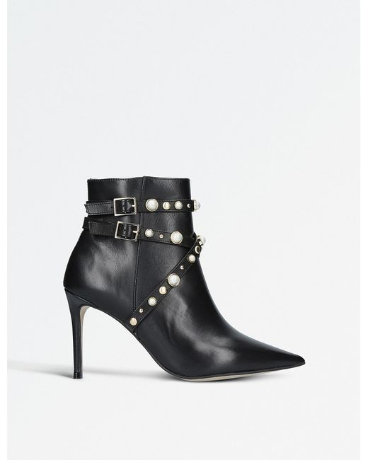 Carvela Kurt Geiger - Black Granite Faux Pearl-embellished Leather Ankle Boots - Lyst