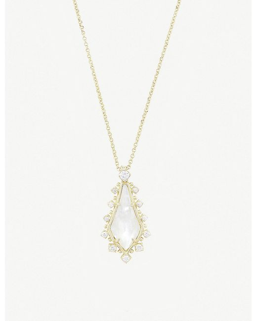 Kendra Scott - White Shelly 14ct Gold-plated And Ivory Mother-of-pearl Necklace - Lyst