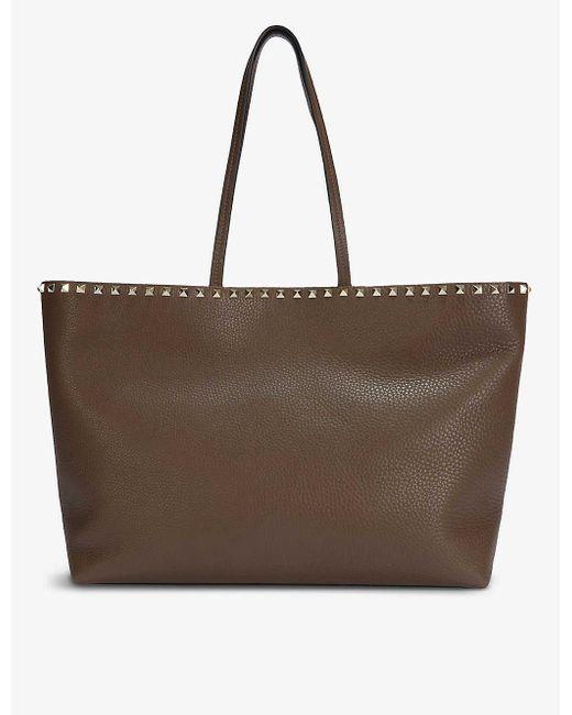 Valentino Garavani Brown Rockstud Grained-leather Tote Bag