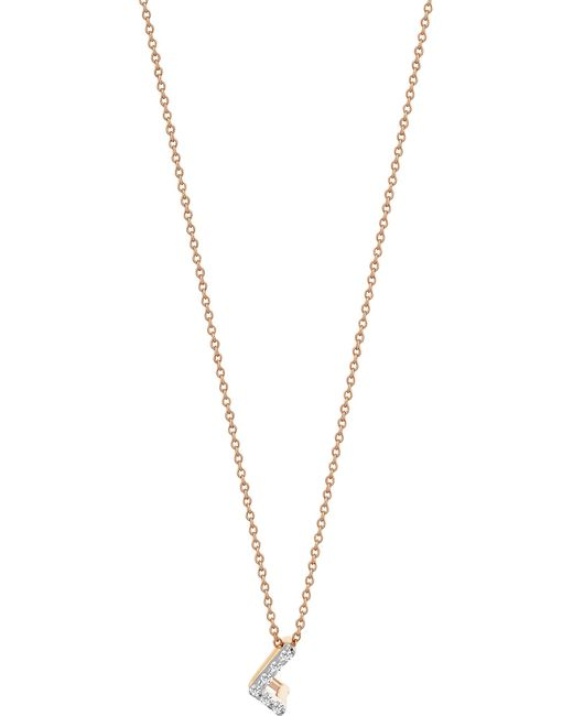 The Alkemistry - Metallic Letter L 14ct Rose Gold And Diamond Necklace - Lyst