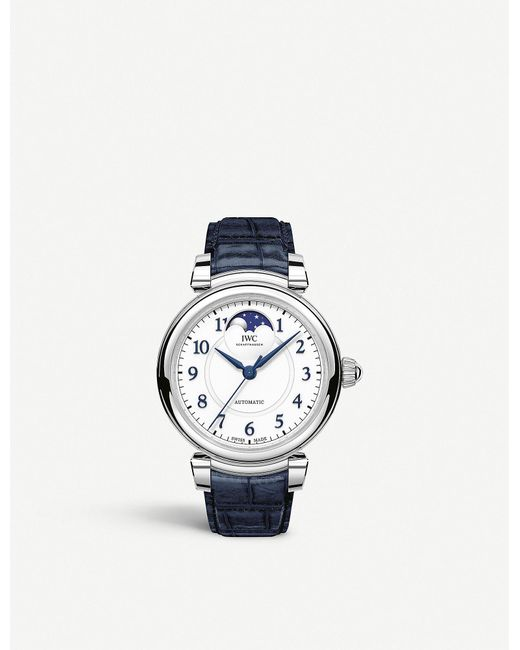 Iwc Metallic Iw459306 Da Vinci Automatic Moon Phase 36 Stainless Steel And Leather Watch