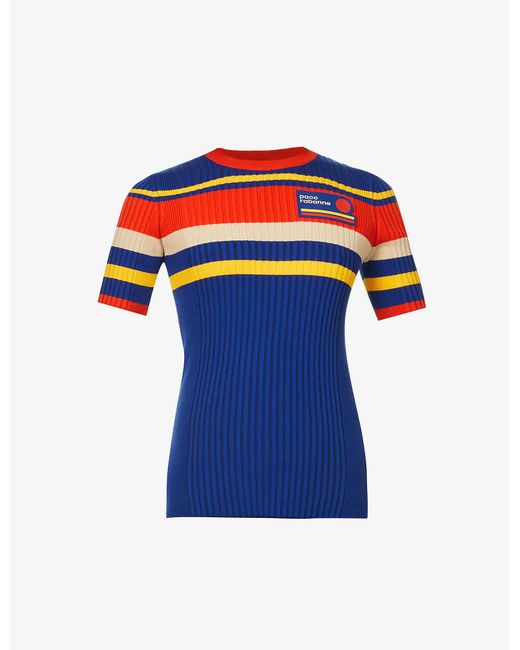 Paco Rabanne Blue Tennis Striped Cotton-blend Knitted Top