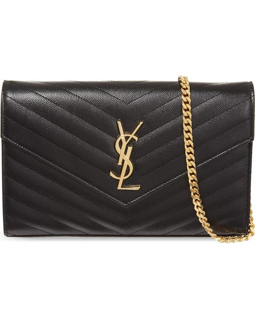Saint Laurent - Black Monogram Quilted Leather Shoulder Bag - Lyst