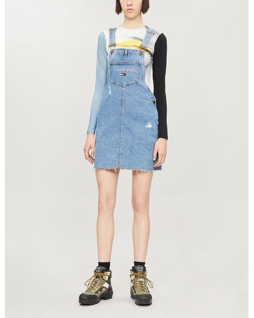 get new buy good 100% genuine Tommy Hilfiger A-line Denim Dungaree Mini-dress in Blue - Lyst