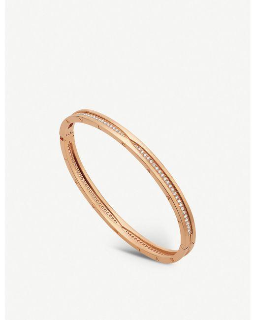BVLGARI Metallic B.zero1 18ct Rose-gold And Diamond Pavé Bracelet