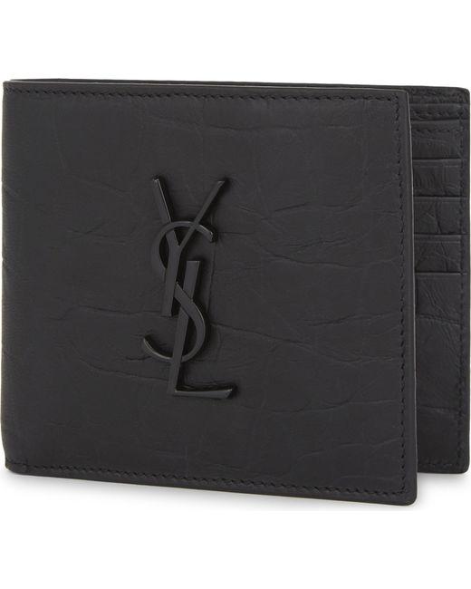 Saint Laurent - Black Monogram Crocodile-embossed Leather Wallet for Men - Lyst