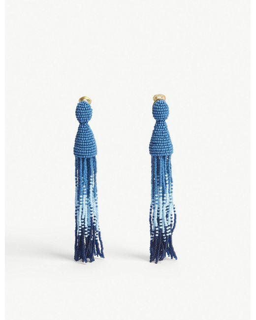 Oscar de la Renta - Blue Ombré Beaded Tassel Earrings - Lyst
